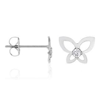 Boucles d'oreilles Papillon or blanc et oxydes de zirconium Envole-moi