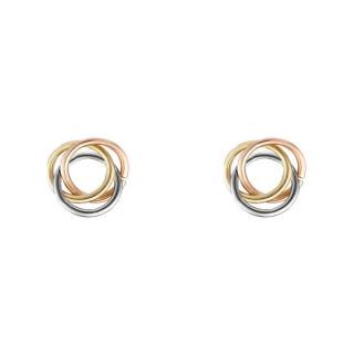 Boucles d'oreilles or tricolore Croisade