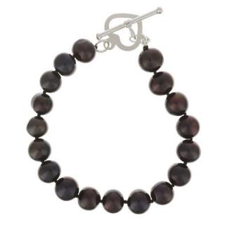Bracelet argent et perles de culture noires BDM Cosmos