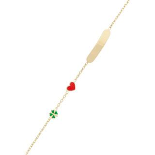 Bracelet gourmette enfant Or jaune 375/1000 et émail