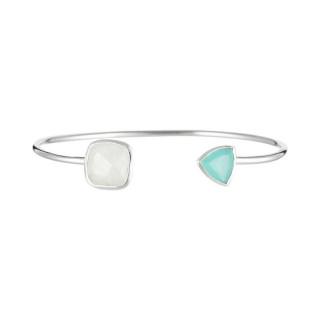 Bracelet jonc ouvert laiton argenté monté d'une pierre lune et d'une aqua calci blanche Talia