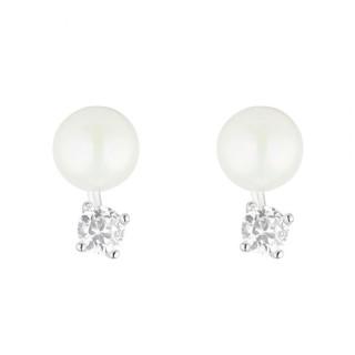 Boucles d'oreilles en argent et oxydes de zirconium Perle Brillante