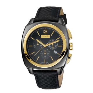 Montre Homme Smalto chronographe noir et doré - bracelet cuir - 44 mm