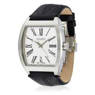 Montre Homme Smalto GIOIA acier - bracelet cuir noir - 36 mm