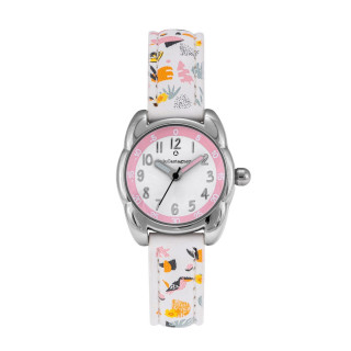 Montre Fille LuluCastagnette - cadran blanc et rose - bracelet blanc avec motifs