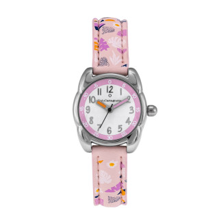Montre Fille LuluCastagnette - cadran blanc et rose - bracelet rose avec motifs