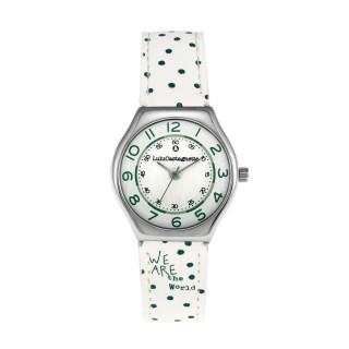 Montre Fille LuluCastagnette - cadran blanc - bracelet blanc avec motifs