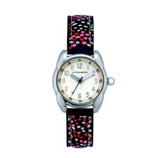 Montre Fille LuluCastagnette - cadran blanc mat - bracelet bleu avec motifs