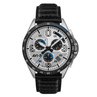 Montre AVI-8 P-51 MUSTANG méca-quartz chronographe - cadran blanc - bracelet noir