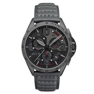 Montre AVI-8 P-51 MUSTANG méca-quartz chronographe - cadran noir - bracelet gris