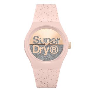 Montre femme Superdry Urban Shine - cadran doré rose - bracelet rose