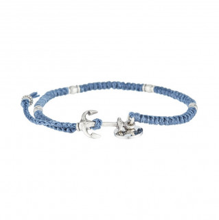 Bracelet Homme en corde cirée, perles argenté et ancre acier