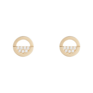 Boucles d'oreilles Or jaune 375/1000 et zirconium