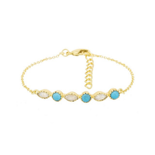 Bracelet doré, turquoise synthetique et pierre de lune