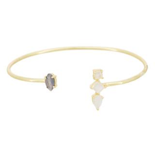 Bracelet doré, pierre de lune et labradorite