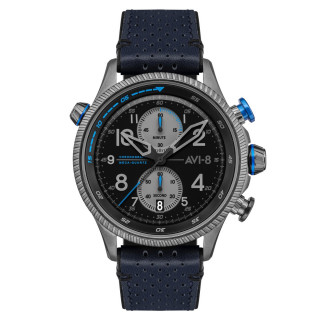 Montre AVI-8 HAWKER HUNTER  méca-quartz chronographe - cadran gris et bracelet bleu