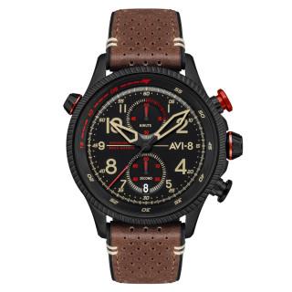 Montre AVI-8 HAWKER HUNTER  méca-quartz chronographe - cadran noir et bracelet marron