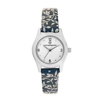 Montre Fille LuluCastagnette - cadran blanc - bracelet bleu avec motifs