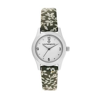 Montre Fille LuluCastagnette - cadran blanc - bracelet vert avec motifs
