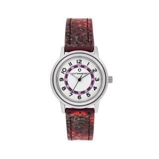 Montre Fille LuluCastagnette - cadran blanc - bracelet noir et violet