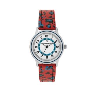 Montre Fille LuluCastagnette - cadran blanc - bracelet noir et rouge