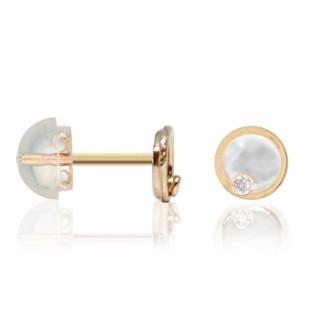 Boucles d'oreilles enfant Or jaune 375/1000, nacre et zirconium