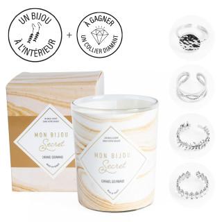 Bougie Bijou Bague Ajsutable argentée  - Parfum Caramel gourmand - 40h