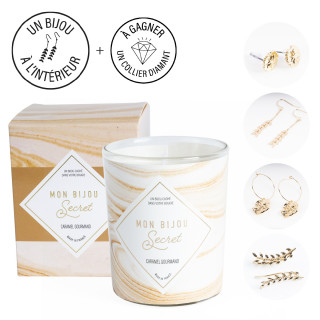 Bougie Bijou Boucles d'oreilles dorées -  Parfum Caramel gourmand - 40h