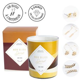 Bougie Bijou Boucles d'oreilles dorées -  Parfum Sable chaud - 40h