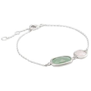 Bracelet chaine laiton argenté monté d'une aventurine verte et d'un quartz vert Zoé