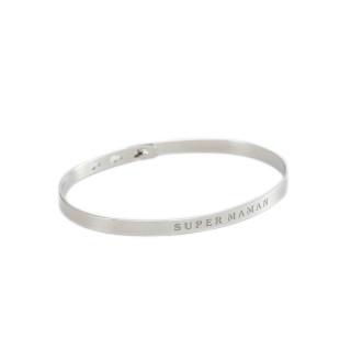 SUPER MAMAN Jonc argenté bracelet à message