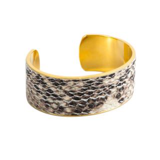 Bracelet manchette MACKAY simili cuir serpent métallisé marron finition dorée