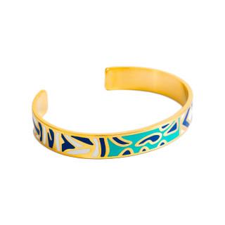 Bracelet ouvert SALERNO émail multicolore finition dorée