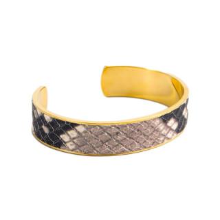 Bracelet ouvert BROOME simili cuir serpent multicolore finition dorée