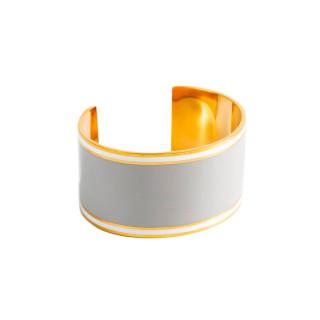 Bracelet manchette ADELAÏDE émail Gris finition dorée