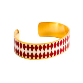 Bracelet ouvert DARWIN émail Rouge finition dorée