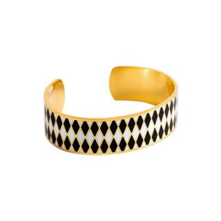 Bracelet ouvert DARWIN émail Blanc et Noir finition dorée