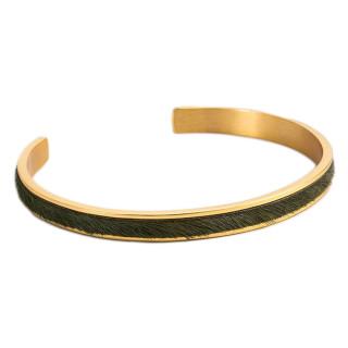 Bracelet jonc ouvert SHANGHAI Fausse fourrure Verte finition dorée
