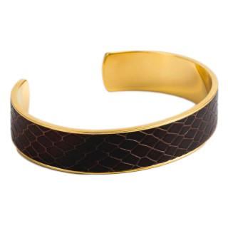 Bracelet ouvert BROOME simili cuir serpent  Marron finition dorée