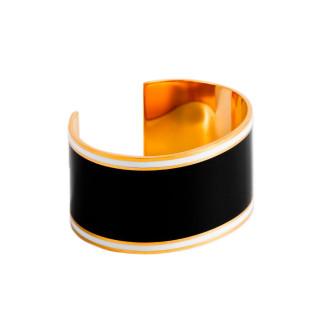 Bracelet manchette ADELAÏDE émail Noir finition dorée