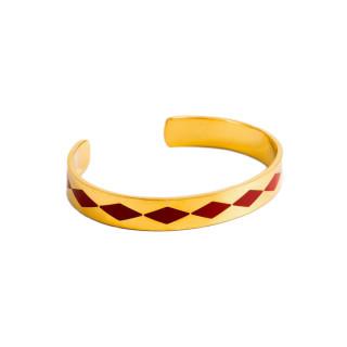 Bracelet ouvert SAO PAULO émail Rouge finition dorée