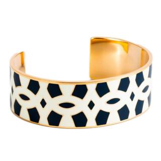 Bracelet manchette NOUMEA émail Blanc et Bleu finition dorée
