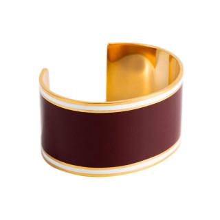 Bracelet manchette ADELAÏDE émail Bordeaux finition dorée