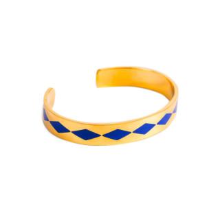 Bracelet ouvert SAO PAULO émail Bleu finition dorée