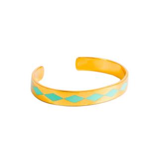 Bracelet ouvert SAO PAULO émail Turquoise finition dorée