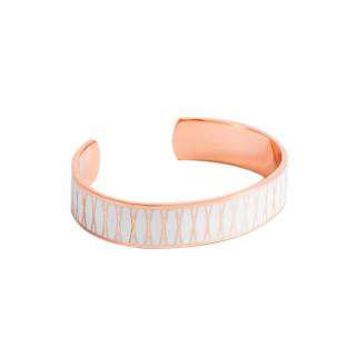 Bracelet ouvert PALMA Émail blanc finition rosée