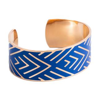 Bracelet manchette MEXICO Émail bleu finition rosée