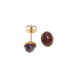 Boucles d'oreilles acier doré à l'or fin et amethyste