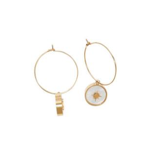 Boucles d'oreilles acier doré à l'or fin et resine