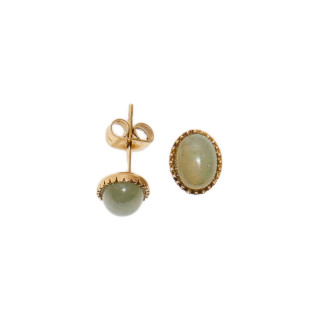 Boucles d'oreilles acier doré à l'or fin et jade